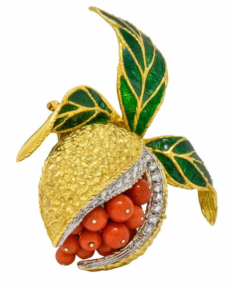 Contemporary 1960s Vintage Diamond Coral Enamel 18 Karat Gold Pomegranate Brooch For Sale