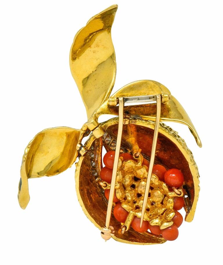 Round Cut 1960s Vintage Diamond Coral Enamel 18 Karat Gold Pomegranate Brooch For Sale