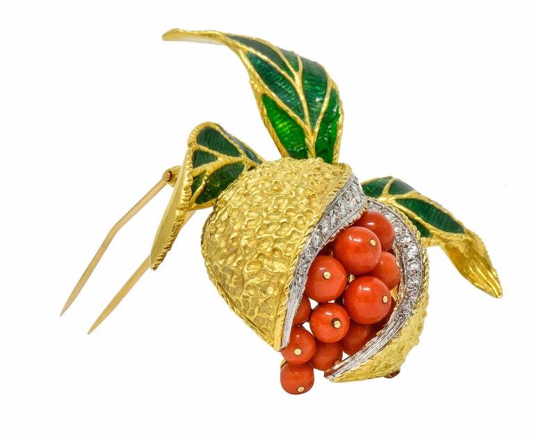 Women's or Men's 1960s Vintage Diamond Coral Enamel 18 Karat Gold Pomegranate Brooch For Sale