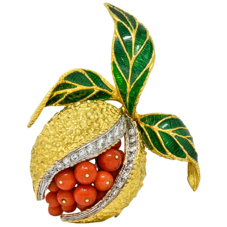1960s Vintage Diamond Coral Enamel 18 Karat Gold Pomegranate Brooch For Sale