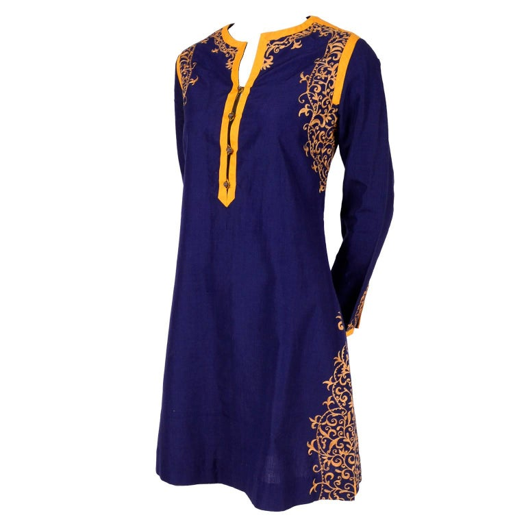 Aananda Vintage Navy Blue Cotton Dress Tunic with Marigold Embroidery, 1960s