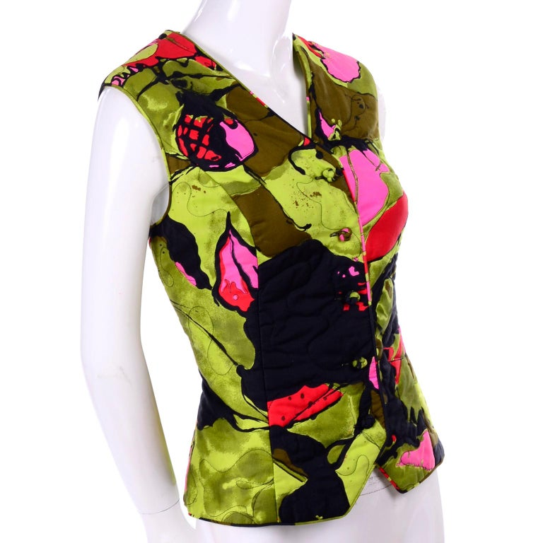 Black 1960s Vintage Dynasty Vest in Colorful Quilted Large Scale Floral Bold Print For Sale