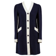 1960s Vintage Early Valentino Dress in Structured Navy Blue & White Wool