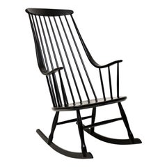 1960s Vintage Ebonised Rocking Chair by Ilmari Tapiovaara