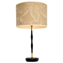 1960s Vintage Ebonized Wood and Brass Table Lamp