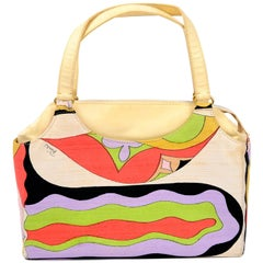 1960s Vintage Emilio Pucci by Jana Top Handle Print Raw Silk & Leather handbag