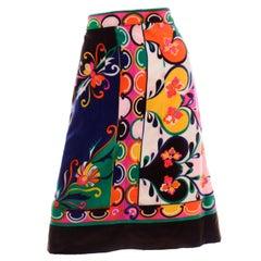 1960s Vintage Emilio Pucci Colorful Print Velvet A Line Skirt