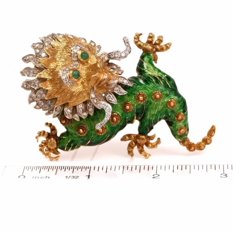 Modern 1960s Vintage Enamel Dragon Diamond Gold Brooch Pin For Sale