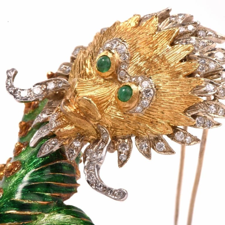 1960s Vintage Enamel Dragon Diamond Gold Brooch Pin For Sale 2