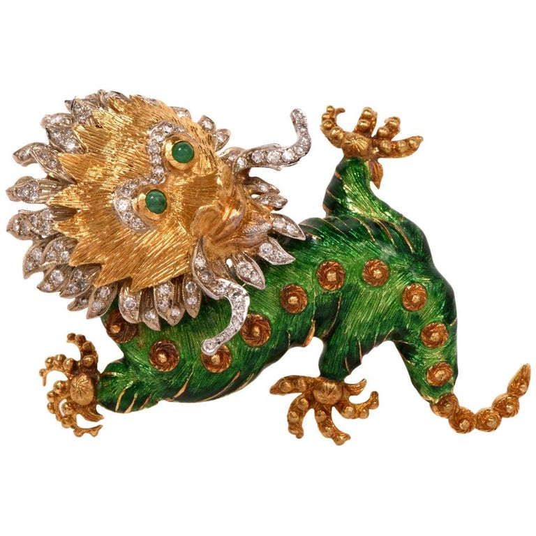 1960s Vintage Enamel Dragon Diamond Gold Brooch Pin For Sale