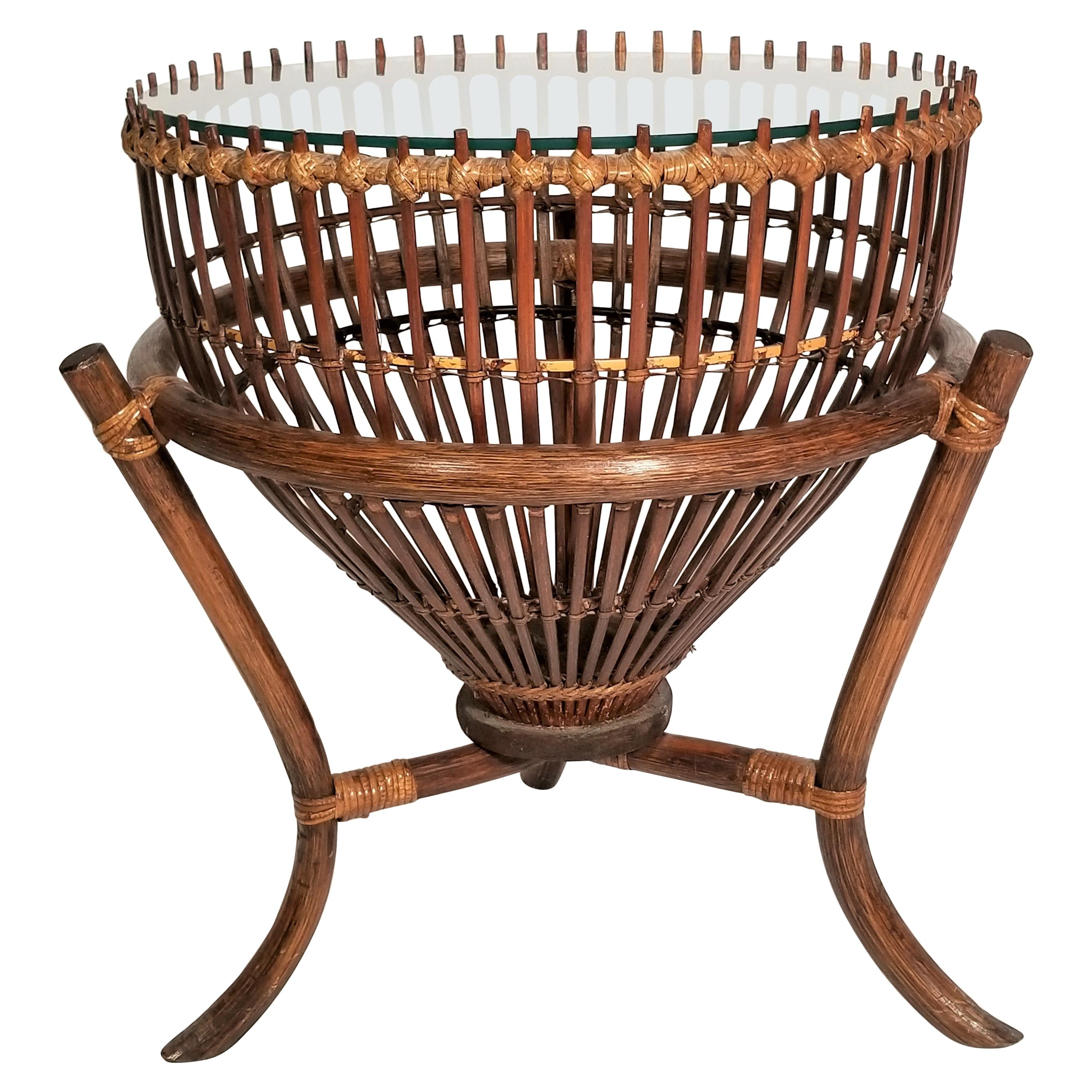 Franco Albini Style Rattan 1960s Fishing Basket Table