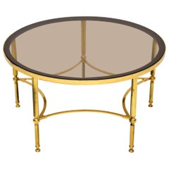 1960s Vintage French Brass and Glass Coffee Table
