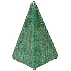 1960s Vintage French Glass Pyramid Table Lamp