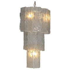 1960s Vintage Glass and Brass Chandelier