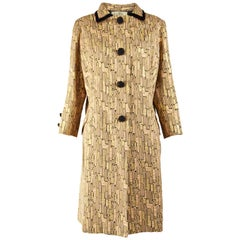 1960s Vintage Gold Brocade Evening Coat