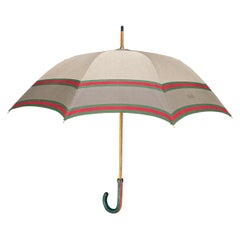 1960s Vintage Gucci Cotton Doorman Umbrella with Classic Red Green Webbing