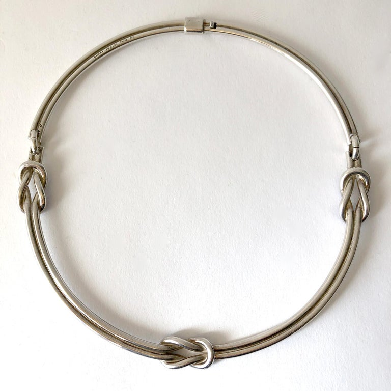 Vintage 1960's sterling silver and enamel collar knot necklace by Gucci.  Collar measures 17.25