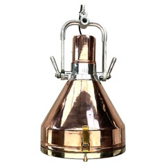 1960s Vintage Industrial Copper and Brass Bridge Lamp LED Ceiling Pendant by VEB