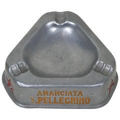 1960s Vintage Italian Advertising San Pellegrino Triangular Aluminum Ashtray