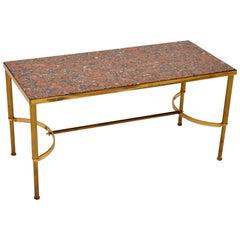 1960's Vintage Italian Brass & Marble Coffee Table