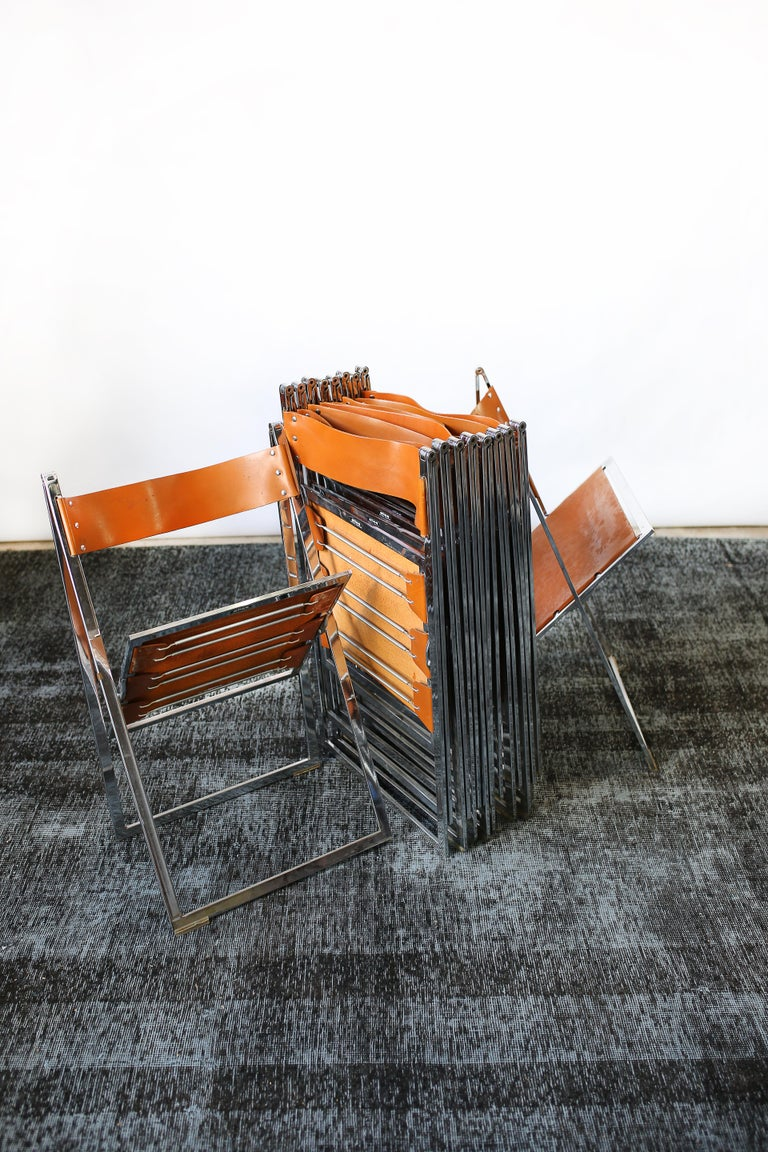 1960s Vintage Italian Chrome and Leather Folding Chairs by Elios, Set of 10 For Sale 7