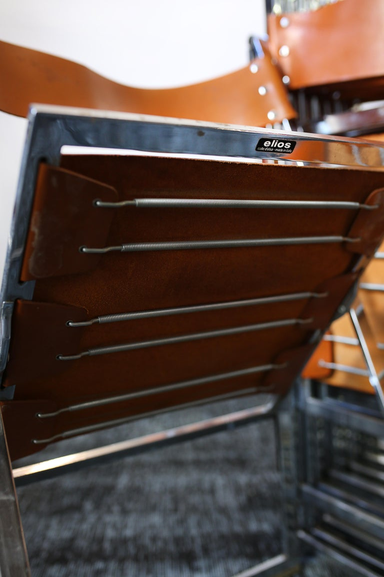 1960s Vintage Italian Chrome and Leather Folding Chairs by Elios, Set of 10 For Sale 9