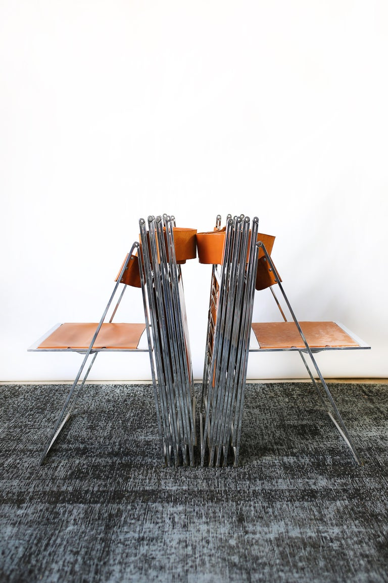 1960s Vintage Italian Chrome and Leather Folding Chairs by Elios, Set of 10 For Sale 10