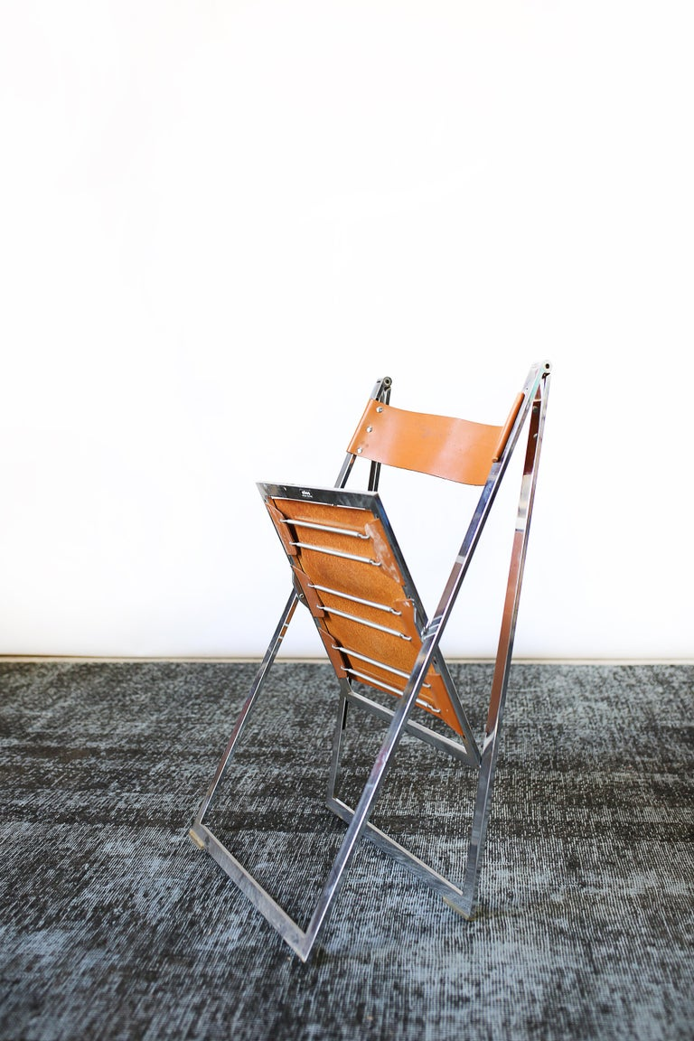 1960s Vintage Italian Chrome and Leather Folding Chairs by Elios, Set of 10 For Sale 11