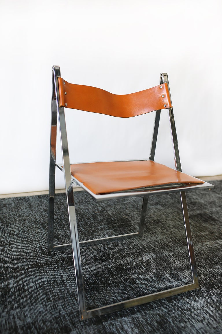 1960s Vintage Italian Chrome and Leather Folding Chairs by Elios, Set of 10 In Good Condition For Sale In San Antonio, TX