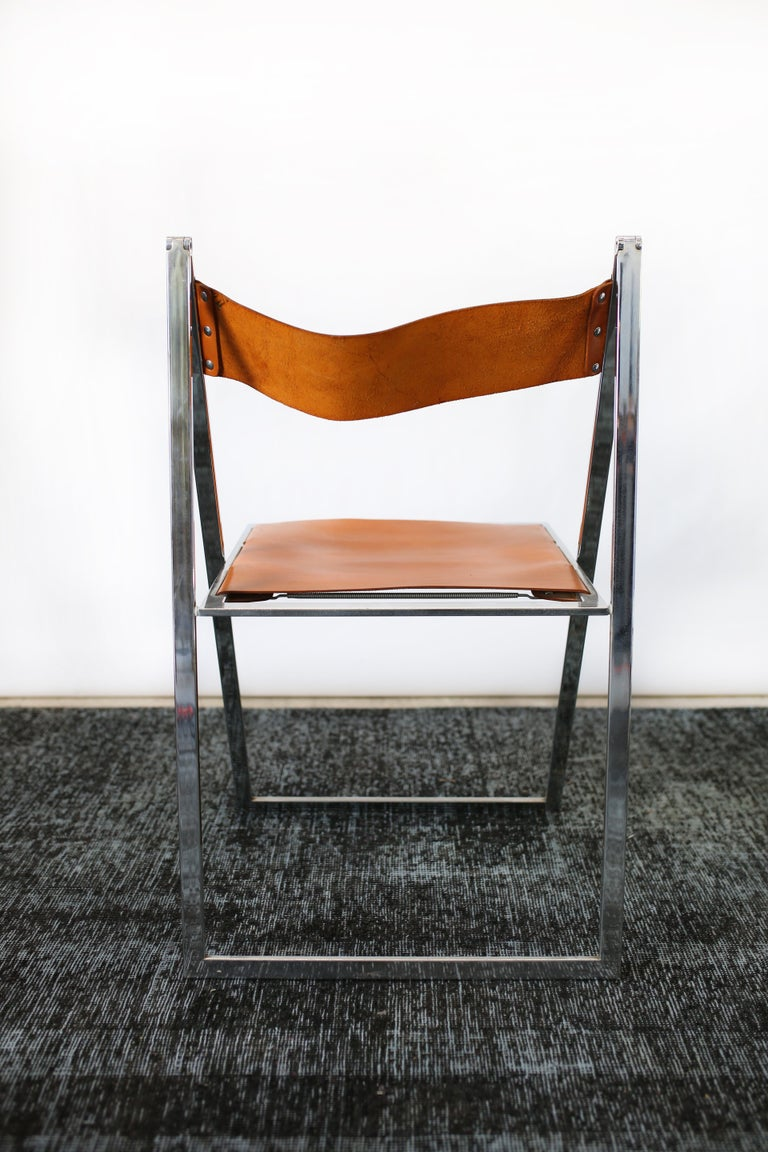 1960s Vintage Italian Chrome and Leather Folding Chairs by Elios, Set of 10 For Sale 3