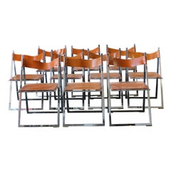 1960s Vintage Italian Chrome and Leather Folding Chairs by Elios, Set of 10