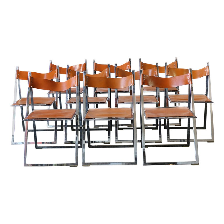 1960s Vintage Italian Chrome and Leather Folding Chairs by Elios, Set of 10 For Sale