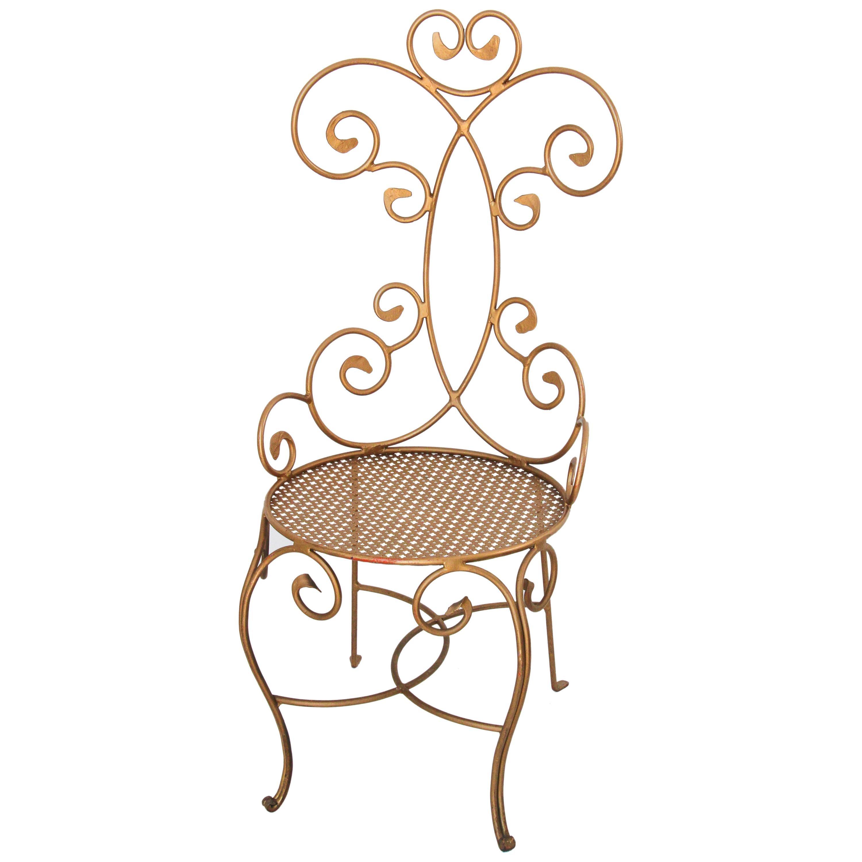 1960s Vintage Italian Gilt Iron Sculptural Chair