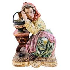 1960's Vintage Italian Porcelain Pensive Farmer Girl Sculpture or Statue