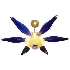 1960s Vintage Italian Star Pendant / Flush Mount in Yellow and Blue Murano Glass