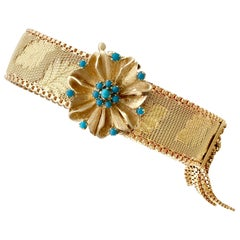 1960s Vintage Italian Turquoise and Gold Bracelet
