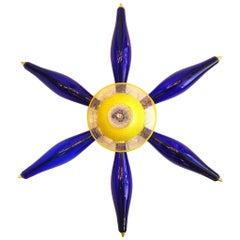 1960s Vintage Italian Unique Star Sconce in Yellow and Blue Murano Glass