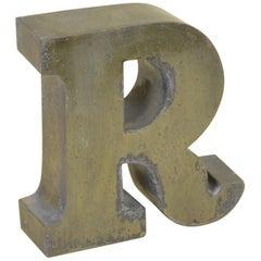 1960s Vintage Italian Uppercase Letter R in Brass