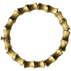 1960s Vintage Italian Vincenza 18-Karat Brushed Gold Bamboo Bangle Bracelet