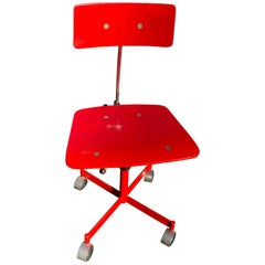 1960s Vintage Jørgen Rasmussen Danish Modern Kevi Model 311 Task Chair in Red