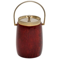 1960s Vintage Lacquered Parchment Ice Bucket by Aldo Tura