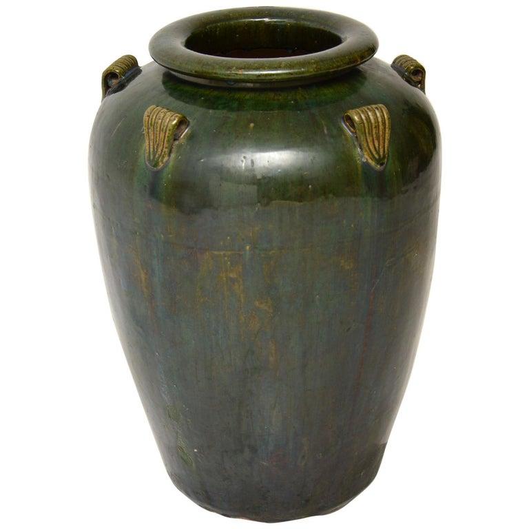 1960s Vintage Large Ceramic Earthenware Vase For Sale