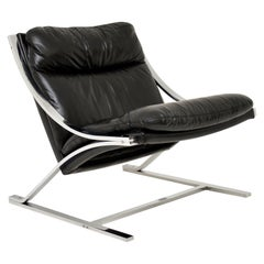 1960s Vintage Leather and Chrome Zeta Chair by Paul Tuttle for Strassle