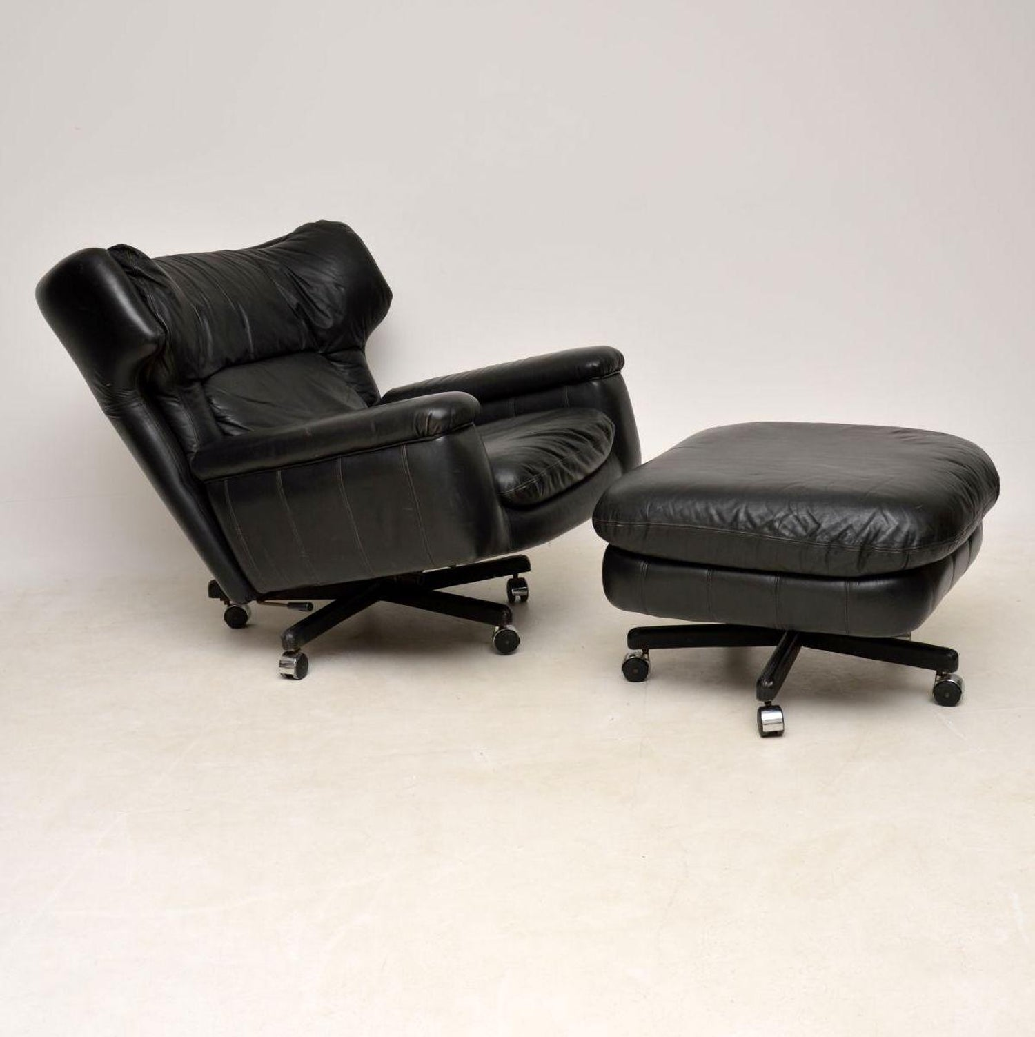 1960s Vintage Leather Reclining Armchair And Stool For Sale At 1stdibs