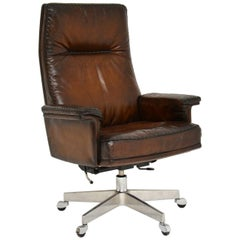 1960s Vintage Leather Swivel Desk Chair by De Sede