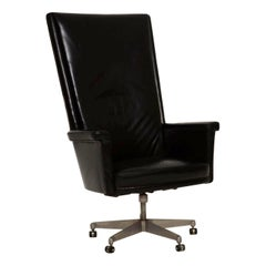 1960s Vintage Leather Swivel Desk Chair by John Home for Howard Keith