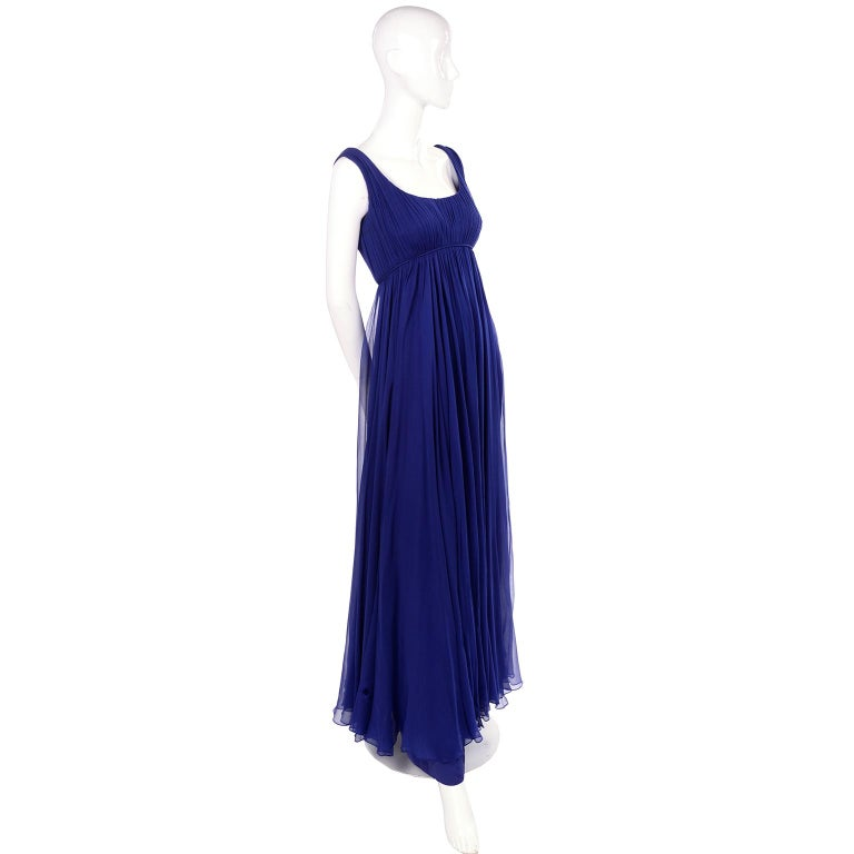 1960s Vintage Malcolm Starr Blue Silk Chiffon Empire Waist Dress In Excellent Condition For Sale In Portland, OR