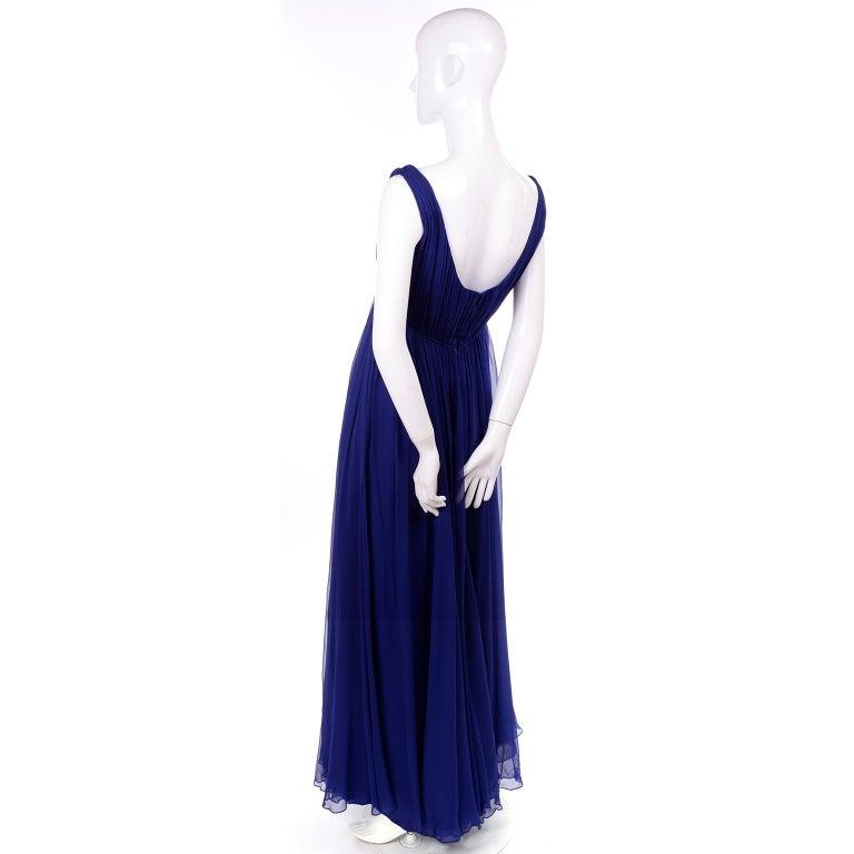 Women's 1960s Vintage Malcolm Starr Blue Silk Chiffon Empire Waist Dress For Sale