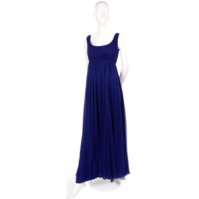 1960s Vintage Malcolm Starr Blue Silk Chiffon Empire Waist Dress For Sale 1