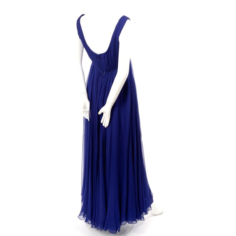 1960s Vintage Malcolm Starr Blue Silk Chiffon Empire Waist Dress For Sale 2